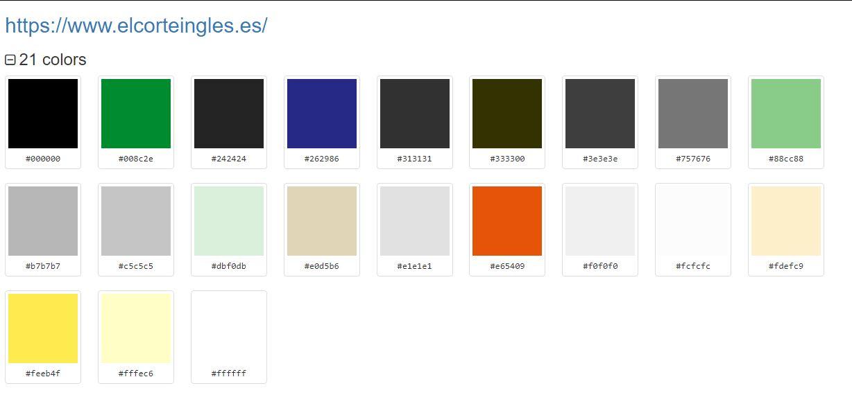 view colour information