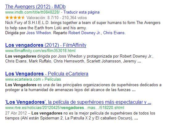 Búsqueda de Los Vengadores en Google