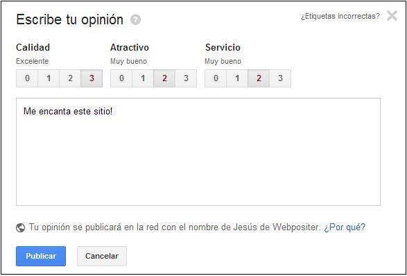 opinion de usuario en Google Local