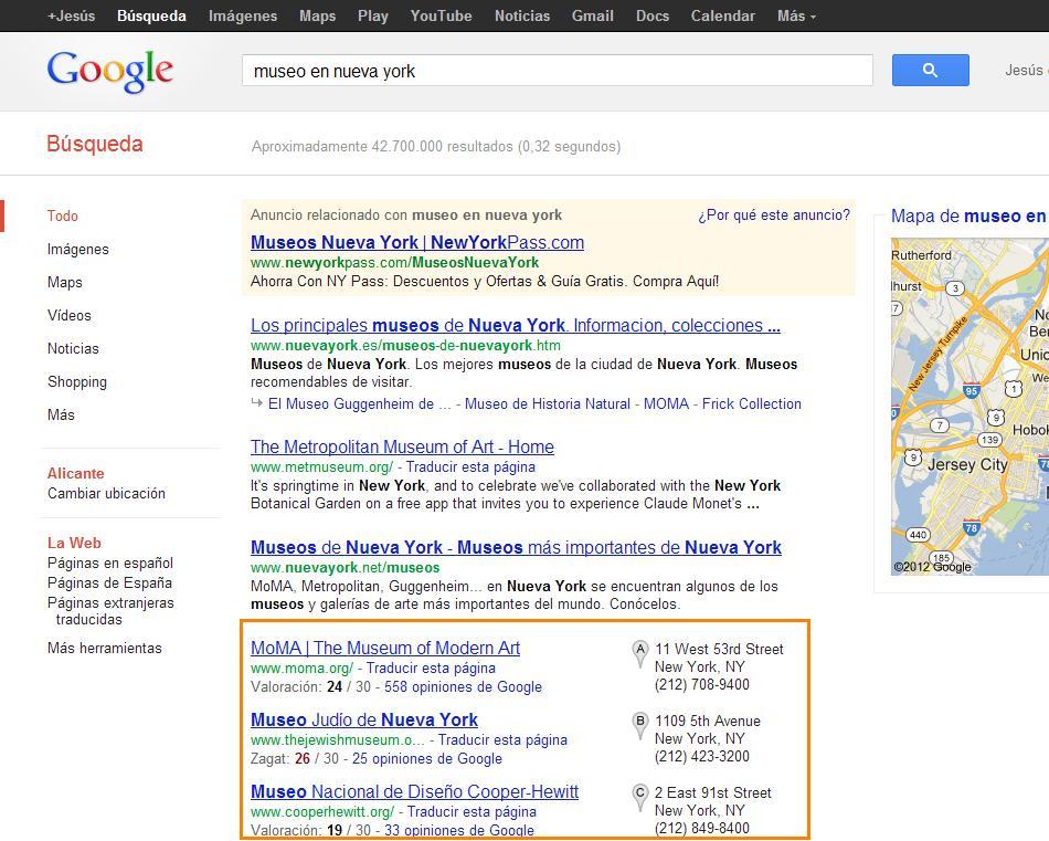 valoraciones de zagat en Google