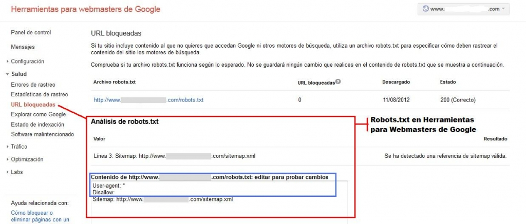 Análisis de Robots.txt en Herramientas para Webmasters de Google