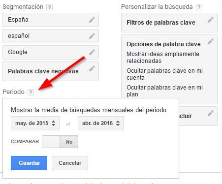 Definición de fechas con Keyword Planner de Google