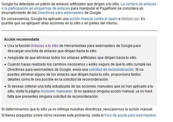 Penalización manual de Google Penguin