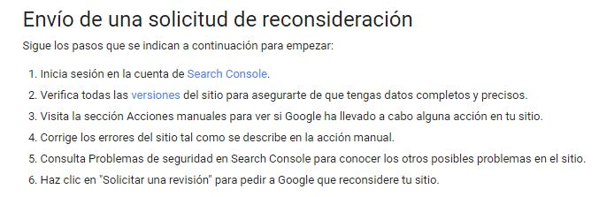 Solicitud de reconsideración Google