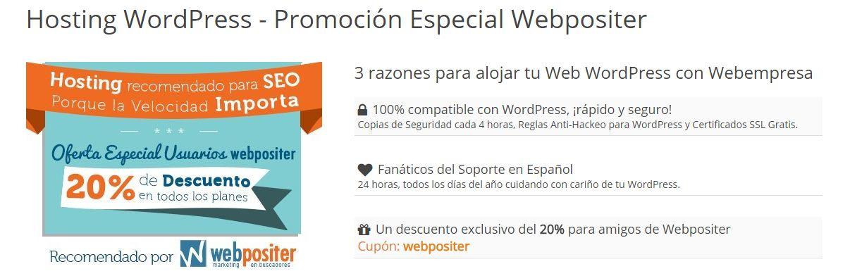 Webpositer promoción Webempresa 20% descuento