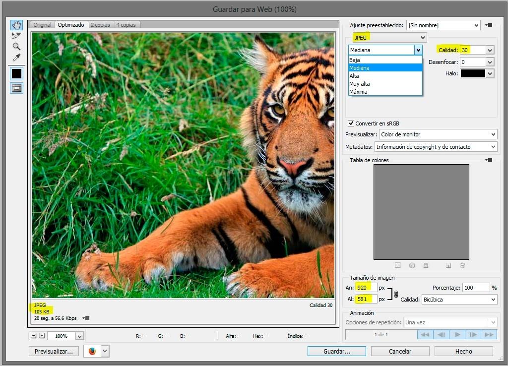 Comprimir imágenes con Photoshop