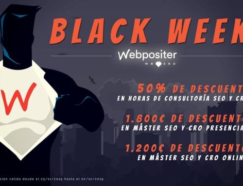Black Week de Webpositer: Contrata una hora de consultoría SEO y CRO con un 50% de descuento o disfruta de hasta 1800 euros de descuento en los programas formativos de Webpositer Academy
