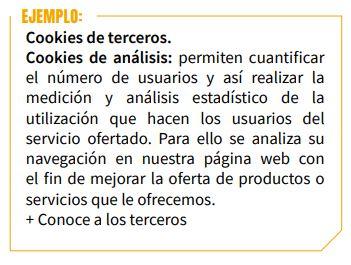 ejemplo texto cookies de terceros AEPD
