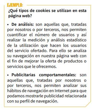 ejemplo tipos de cookies web AEPD