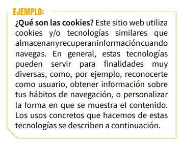 qué son las cookies ejemplo AEPD