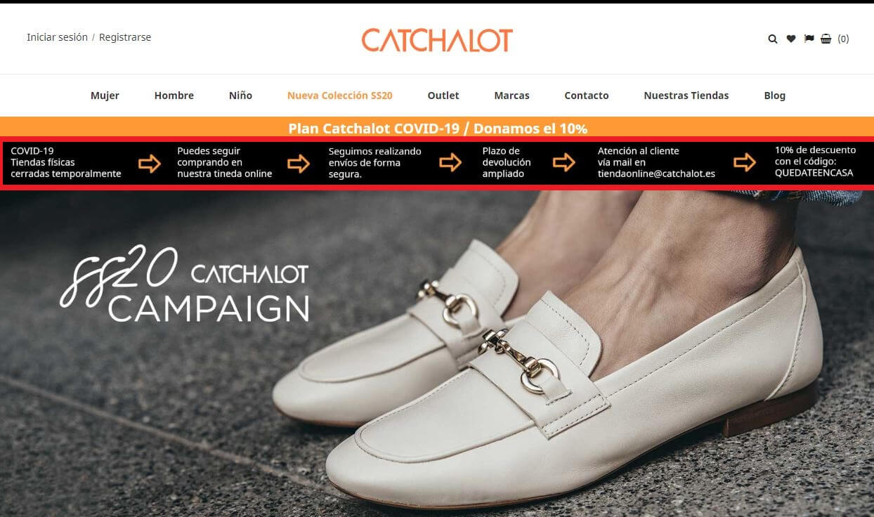 mensajes de tranquilidad coronavirus en tienda online Catchalot