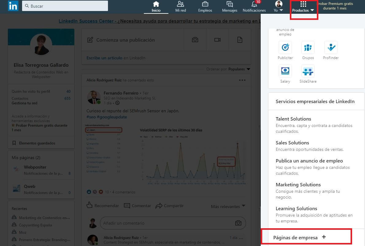 crear página de empresa en LinkedIn