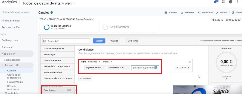 segmentacion seo expresion regular google analytics