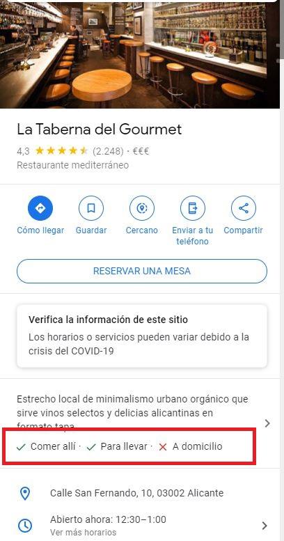 Covid-19 Google My Business atributos restaurantes