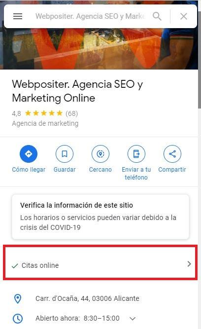 Atributo cita online Google My Business