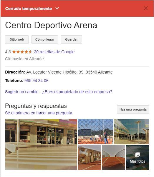 Cerrado temporalmente Google My Business