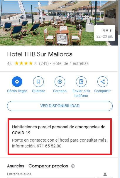 Covid-19 información hoteles Google My Business