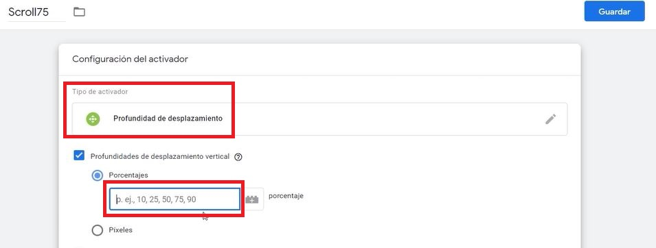 Porcentaje de profundidad Google Tag Manager