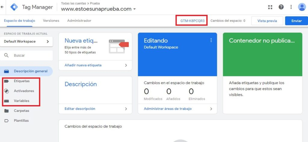 interfaz Google Tag Manager