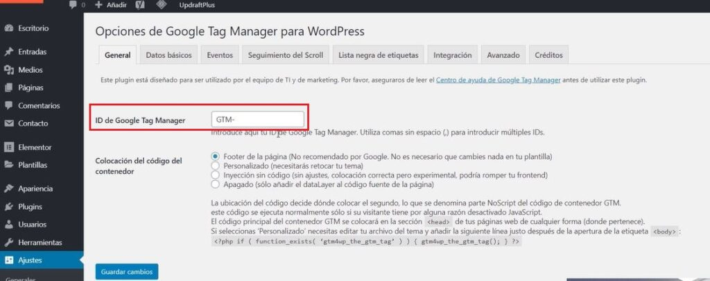 Instalar Google Tag Manager en WordPress