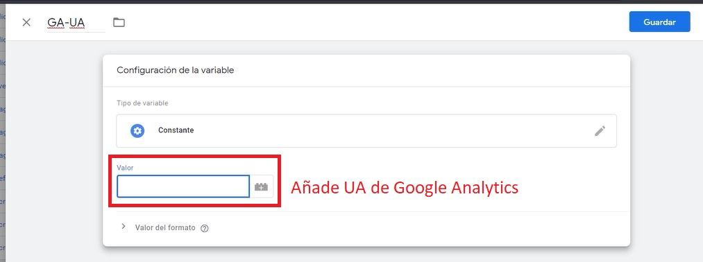 Configuración variable Google Analytics