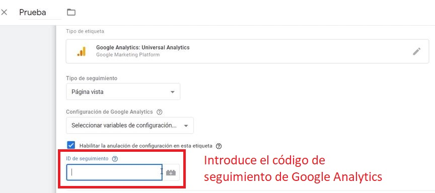 Etiquetas Google Analytics