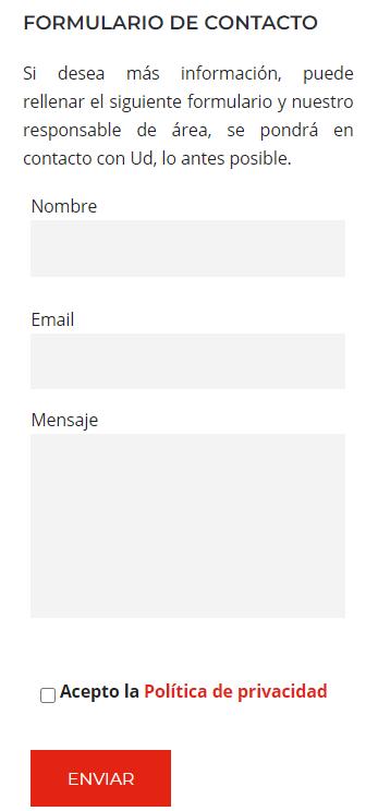 Formulario web de contacto