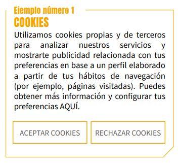 Ejemplos aviso cookies