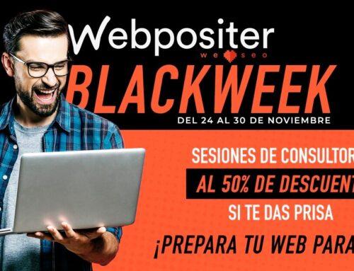 Webpositer Black Week. Contrata una sesión de consultoría SEO, CRO o de Contenidos al 50% de descuento