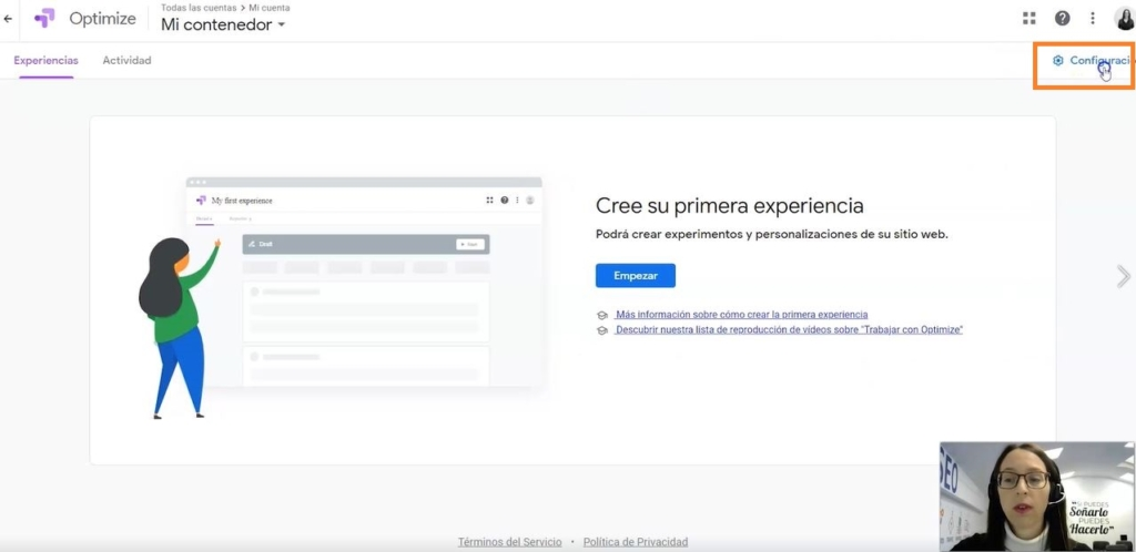 Configuración google optimize