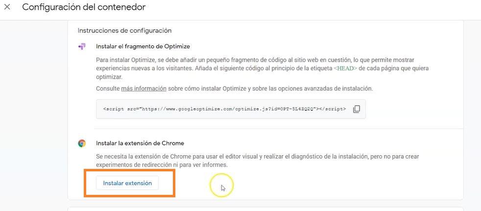 instalar extensión chrome google optimize