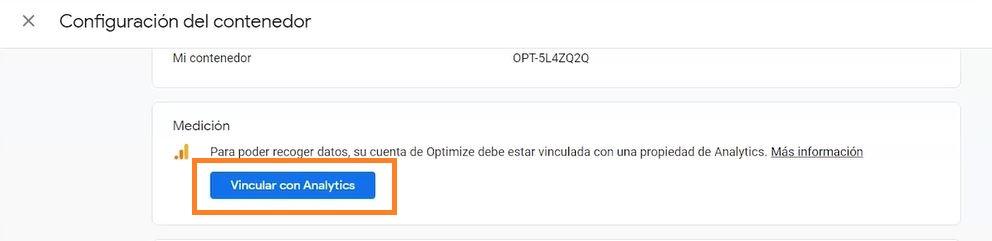 vincular optimize con analytics